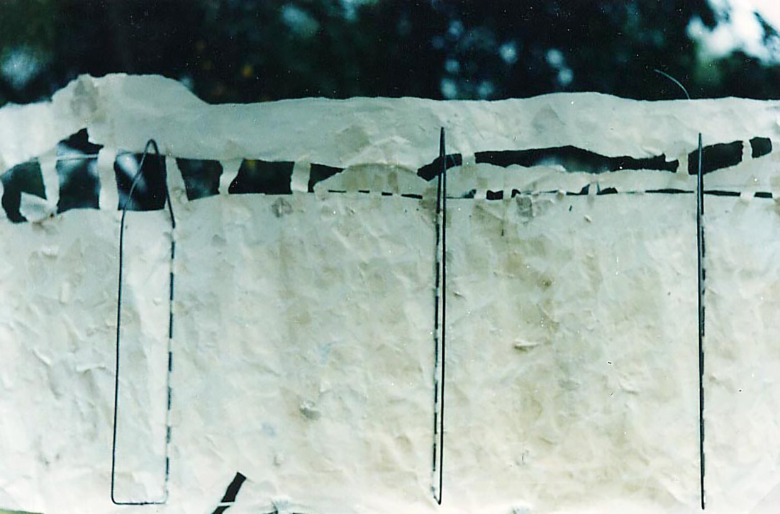 Guillermina De Gennaro, Dimore Perdute 1, paper, glue, iron, installation, 1995-1997.