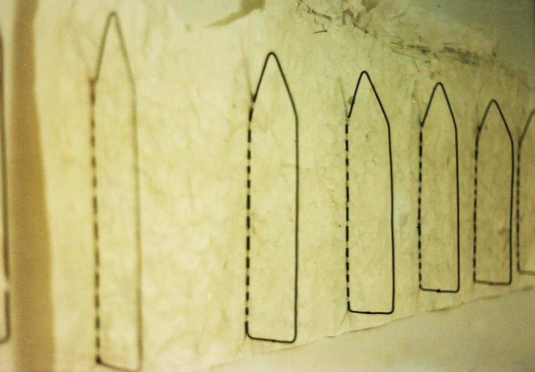 Guillermina De Gennaro, Dimore Perdute 2, paper, glue, iron, installation, 1995-1997.